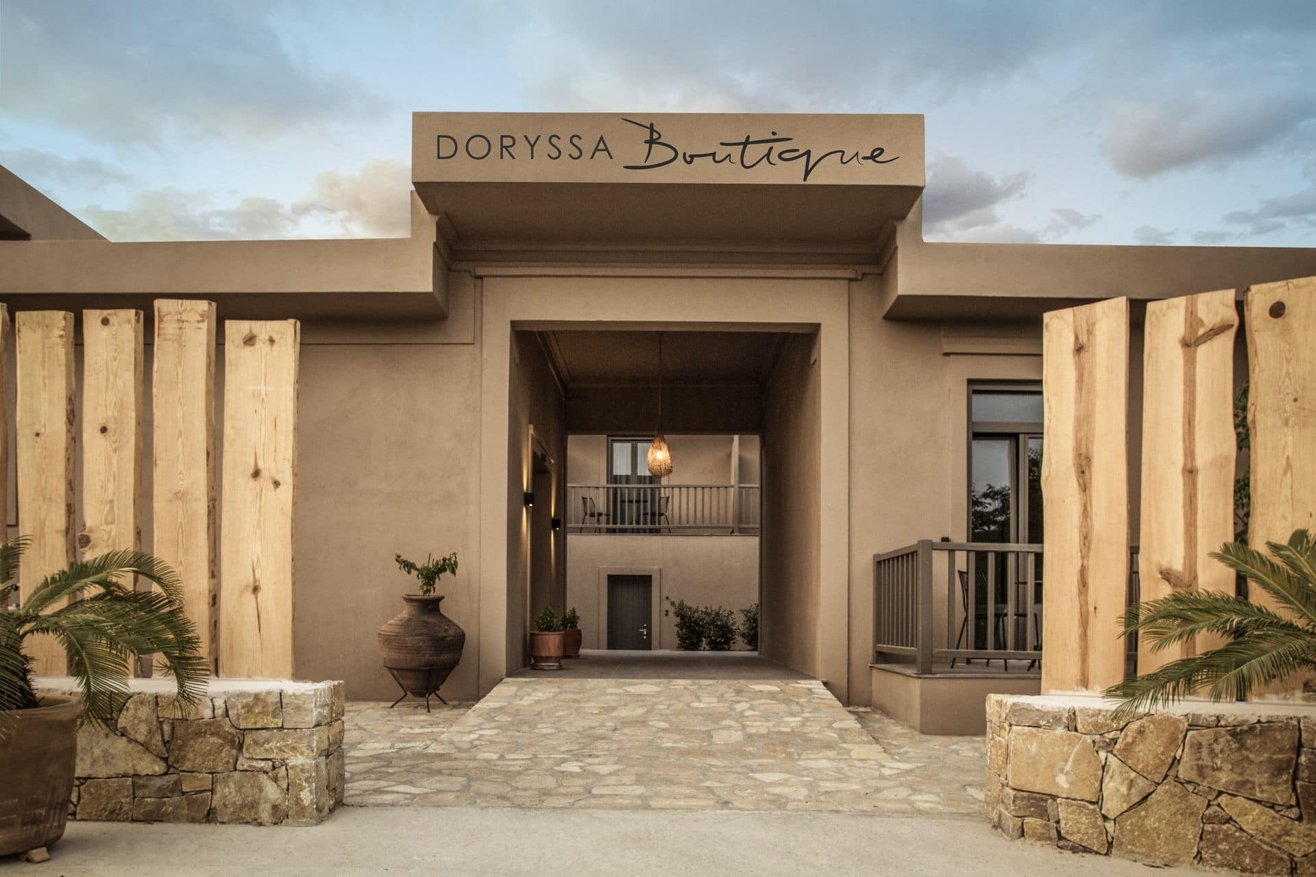 Main entrance of Doryssa Boutique, an adults only hotel in Samos