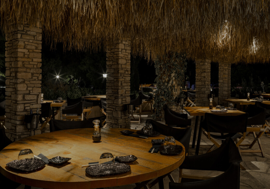 The setting of our Unan Sushi restaurant at Doryssa, our group of luxury hotels in Samos