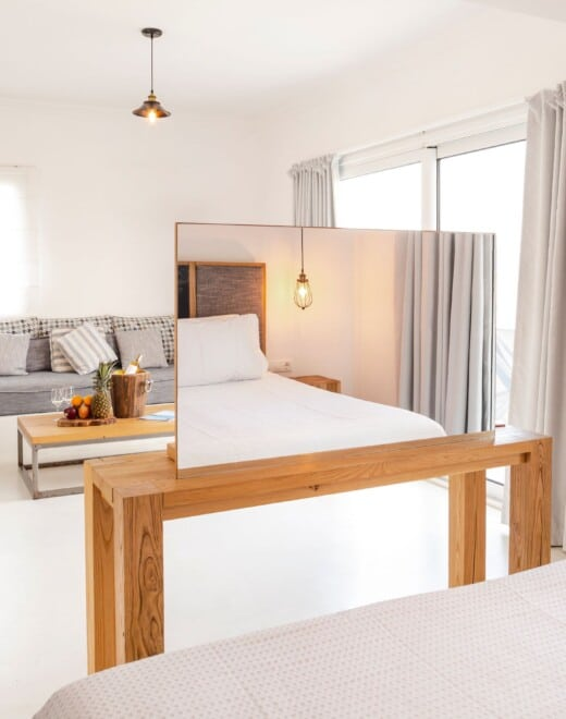 In room view of the family beachfront accommodation in Samos by Doryssa Coast Apartments