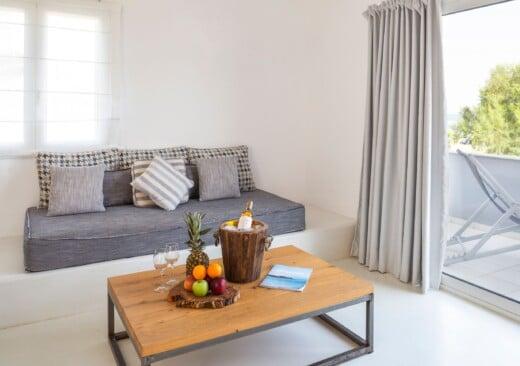 Sofa and coffee table at Doryssa Coast's seaview apartments in Samos