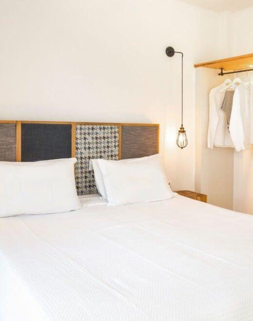 Bedroom and wardrobe at Doryssa Coast's seaview apartments in Samos