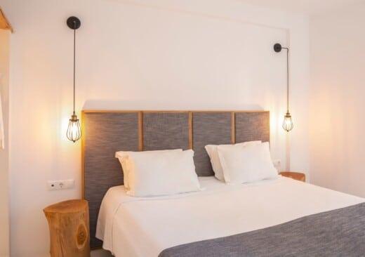 The bedroom of Doryssa Coast's family apartments in Samos