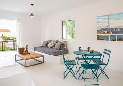 The elegant living room at Doryssa Coast's family apartments in Samos
