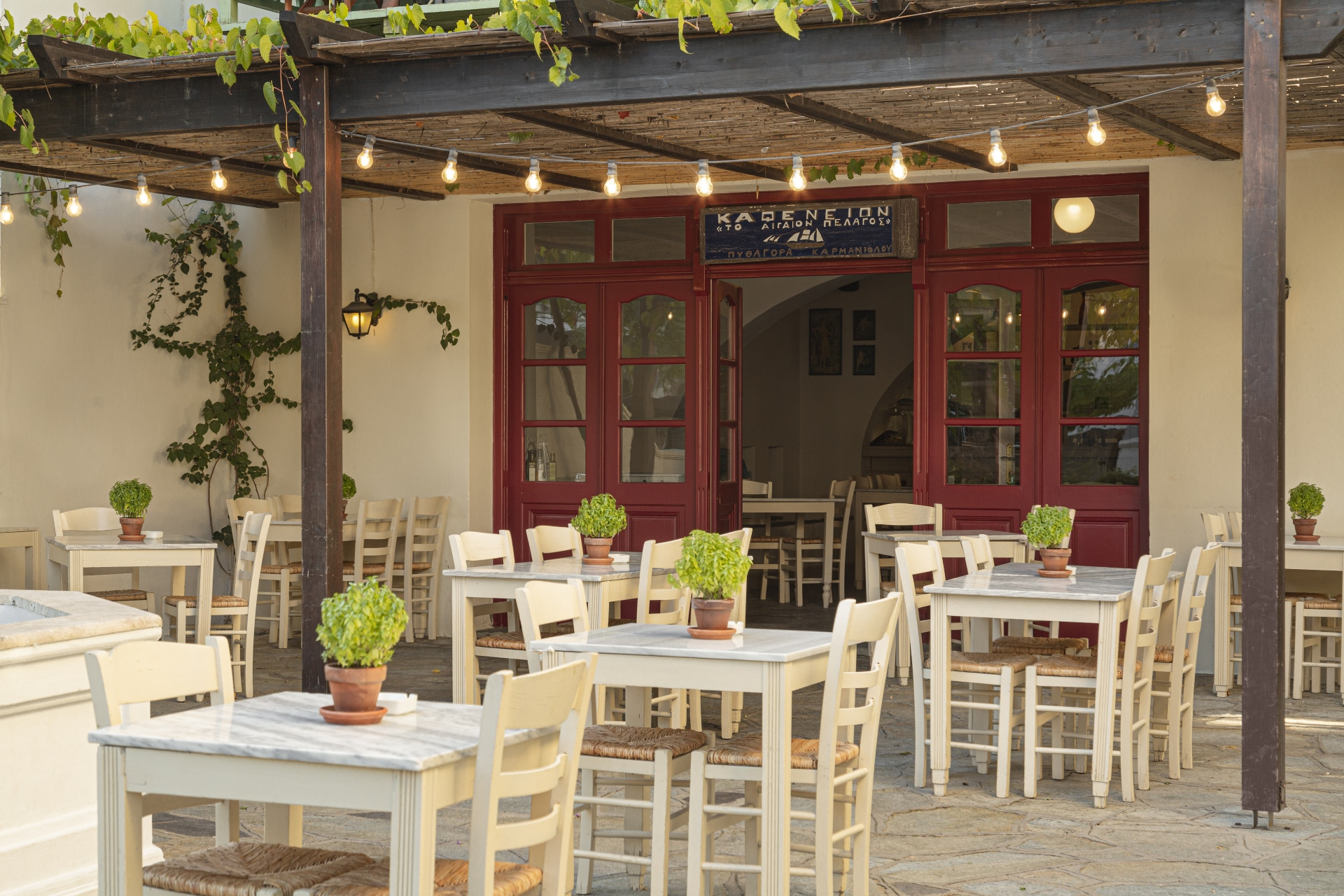 The quaint Greek Kafeneion at Doryssa Seaside part of our luxury hotels in Samos