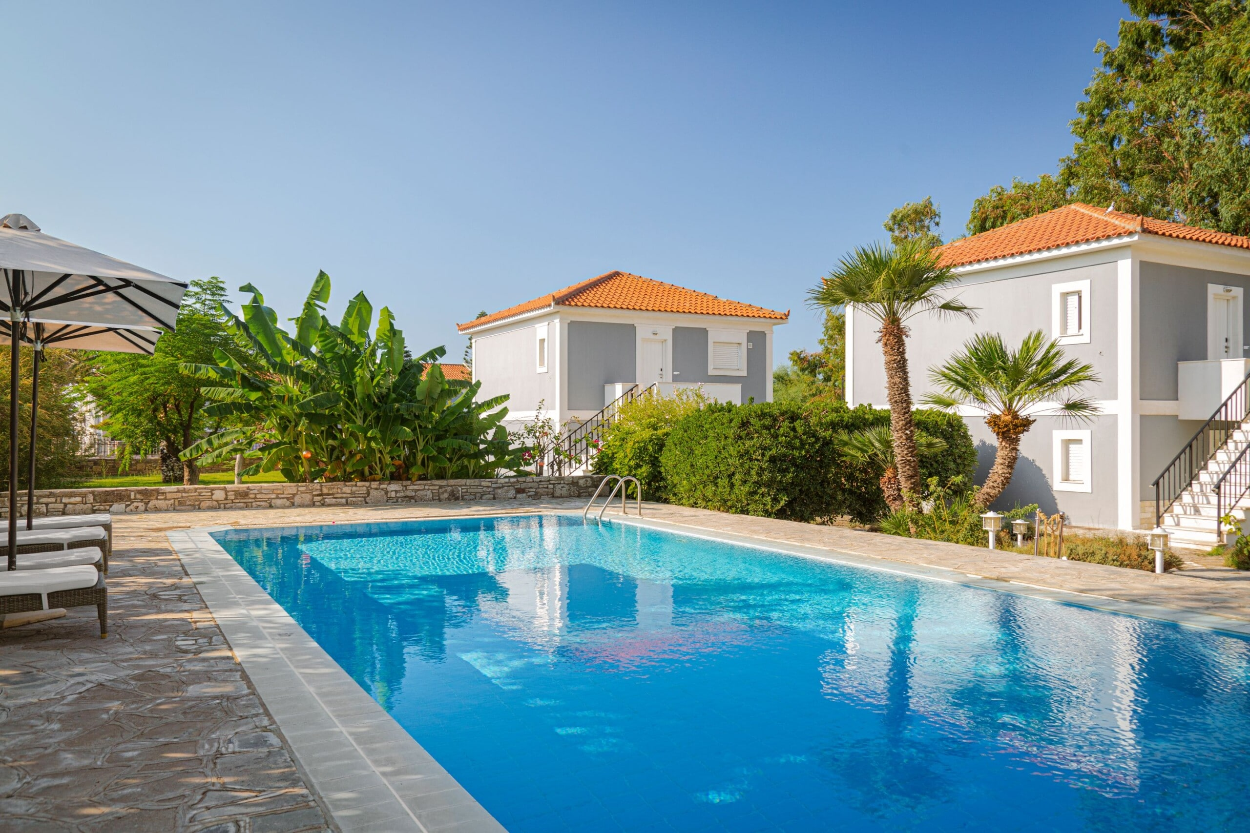 The main pool at Doryssa Coast seafront luxury apartments in Samos