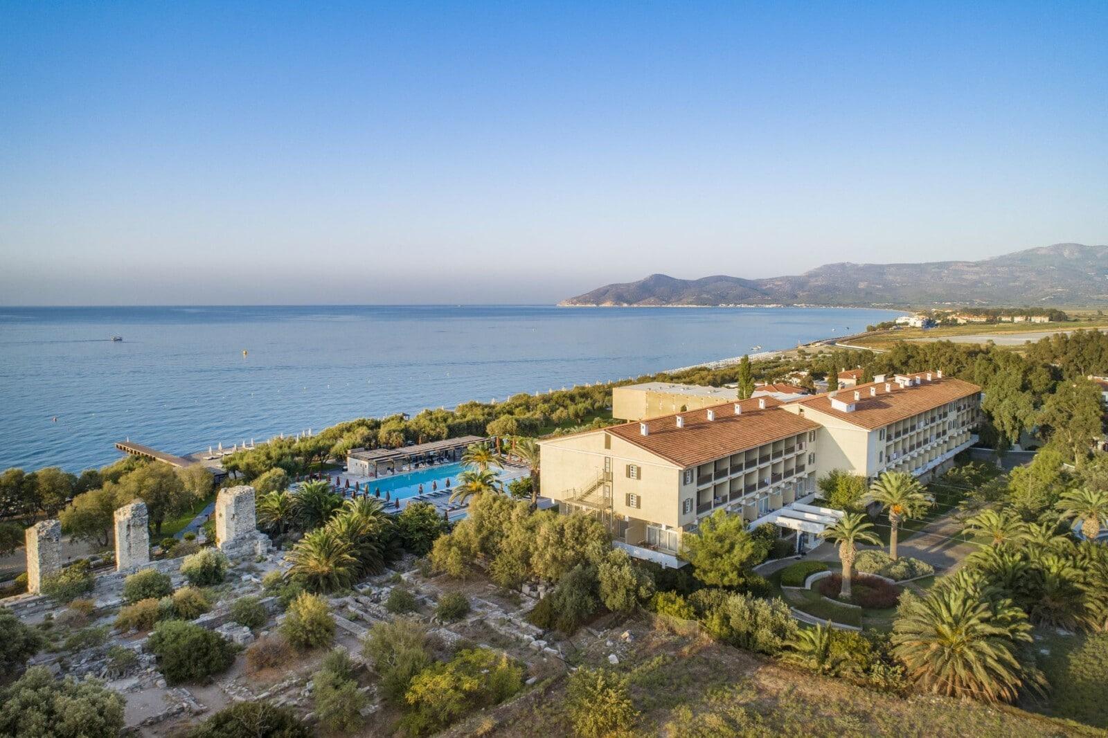 Aerial photo of Doryssa Seaside, a luxury beachfront resort in pythagoreio samos