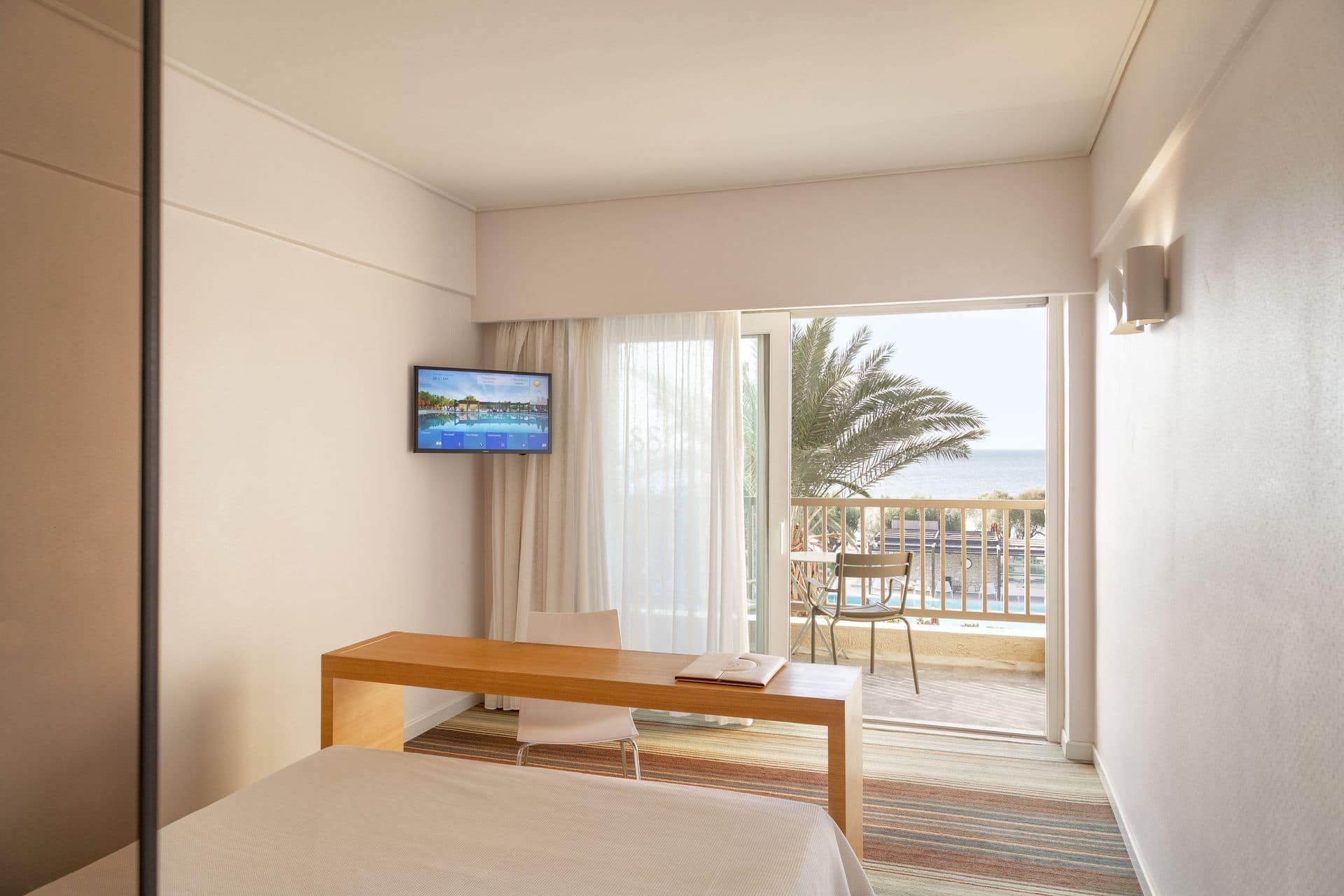 An in-room view of Doryssa Seaside's seaview suites in Samos