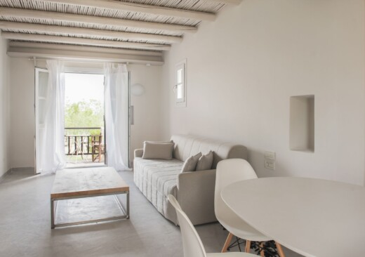 In-room view of Doryssa Seaside Village family seaview suite in samos