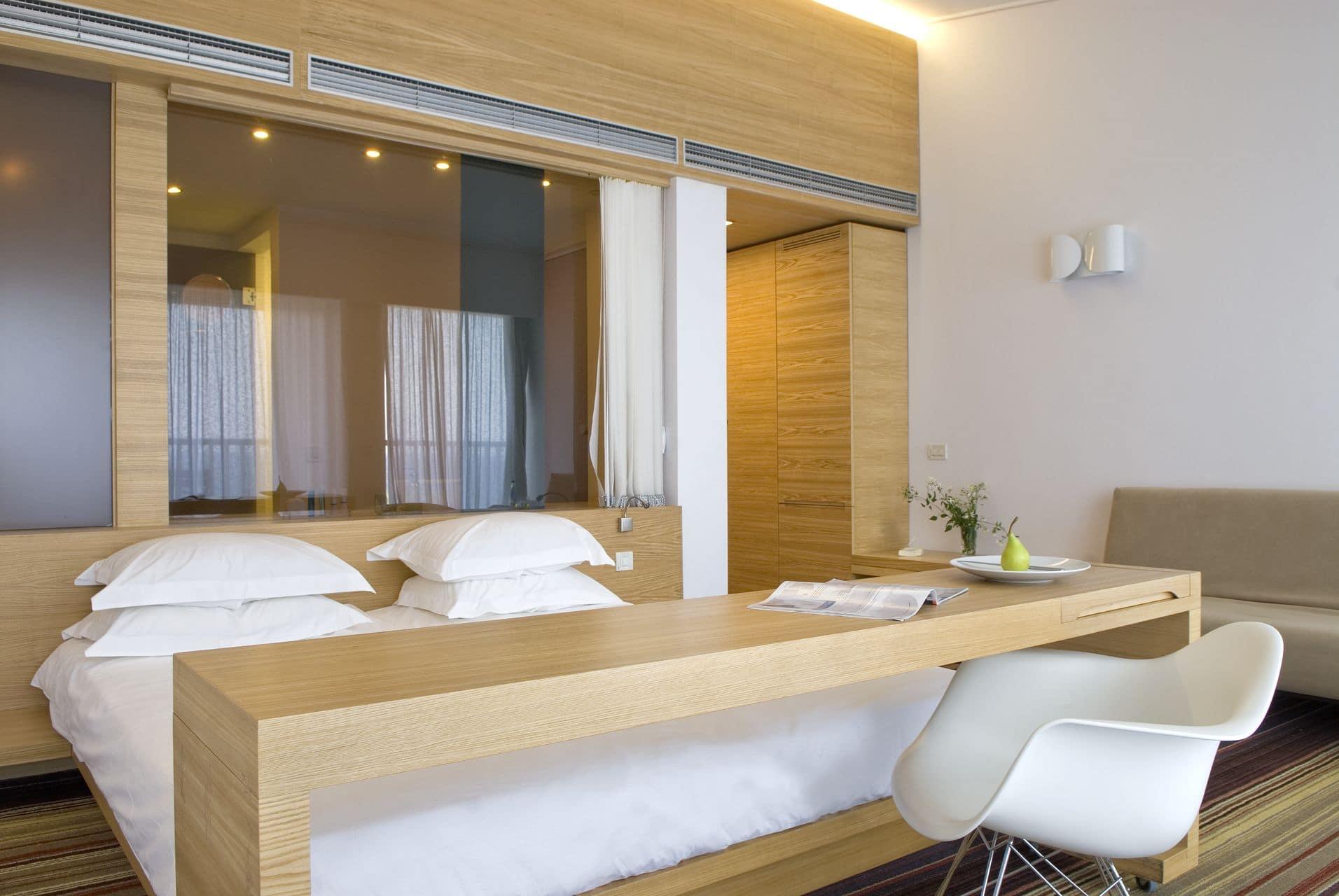 An in-room view of Doryssa Seaside's luxury seaview suites in Samos