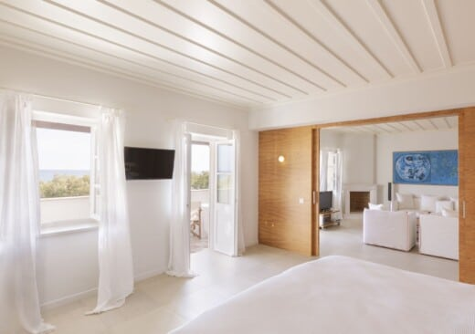In-room view of the Presidential Village seaview luxury family suite in Samos by Doryssa Seaside