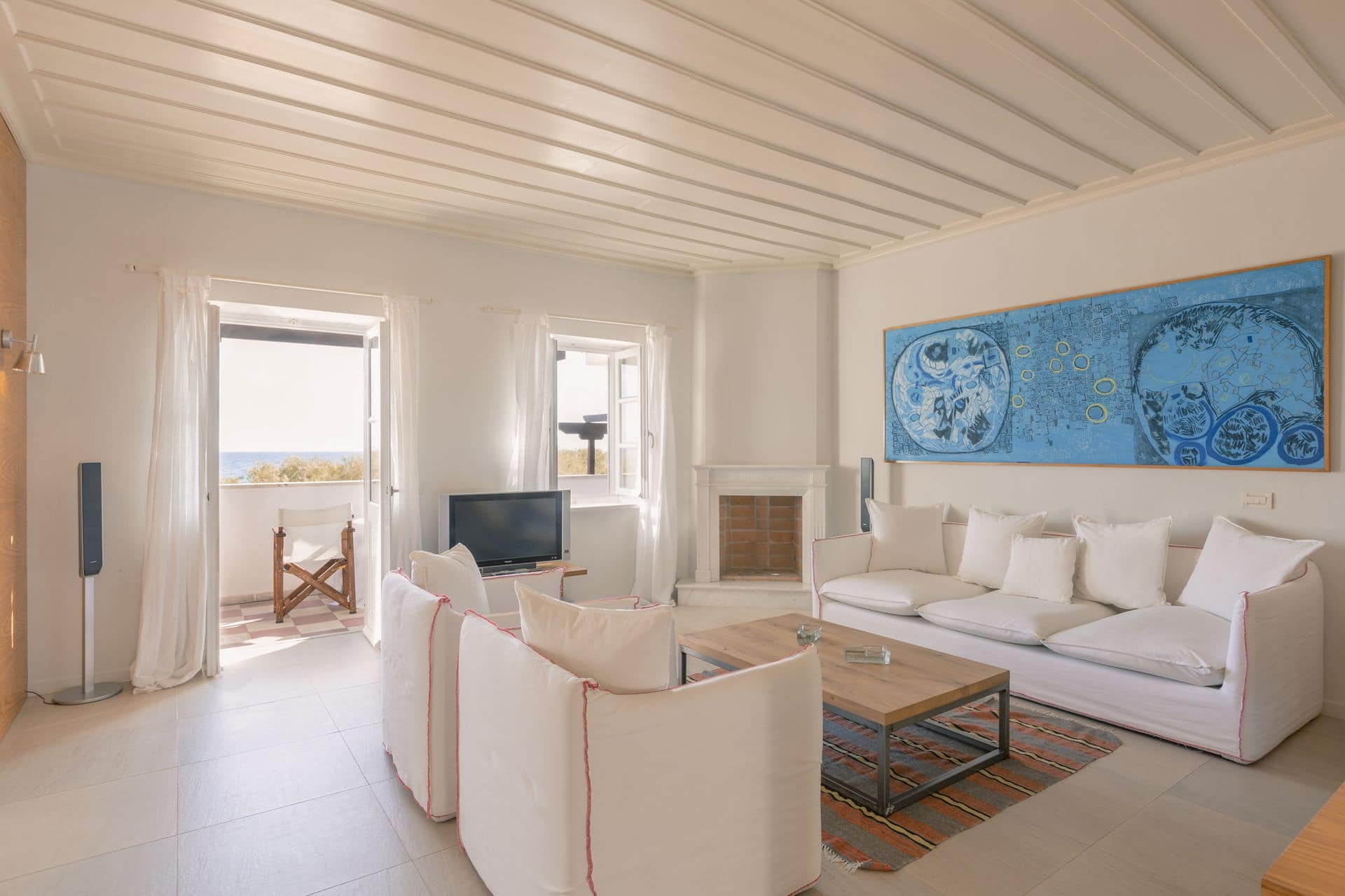 Living room of the Presidential Village seaview luxury family suite in Samos by Doryssa Seaside